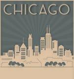 Chicagowski linia horyzontu karty art deco styl royalty ilustracja