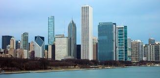 Chicagowski linii horyzontu jezioro michigan i budynków widok od brzeg Obrazy Royalty Free