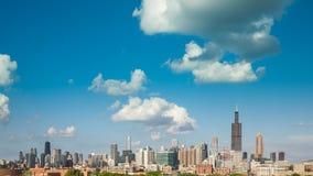 Chicagowski linii horyzontu miasta czasu upływ