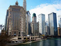 Chicagowski miasto, widok Od rzeki Obrazy Royalty Free