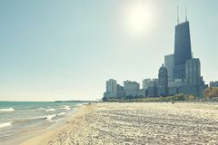 Chicagowski nabrzeże przeciw słońcu, usa zdjęcie royalty free