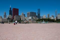 Chicagowski pejzaż miejski na jaskrawym słonecznym dniu Zdjęcia Royalty Free