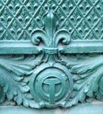 Chicagowski rzeczny symbol i Fleur De Lis architektoniczny szczegół Zdjęcie Royalty Free