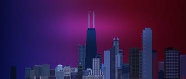 Chicagowski w centrum biznesu, finanse terenu tło z drapaczami chmur na tle i Wielki widok duży usa miasto Vec Zdjęcia Stock