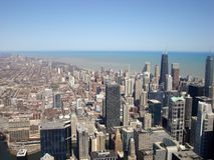 Chicagowski widok Od Przypala wierza Na słonecznym dniu Zdjęcie Stock