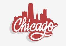 Chicagowskiego Illinois Usa pejzażu miejskiego miasta linia horyzontu etykietki znaka Miastowy logo dla t majcheru lub koszula we ilustracja wektor
