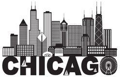 Chicagowskiego miasto linii horyzontu teksta Czarny I Biały wektorowa ilustracja ilustracji