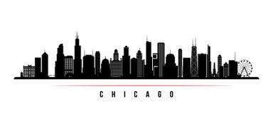 Chicagowskiej miasto linii horyzontu horyzontalny sztandar royalty ilustracja