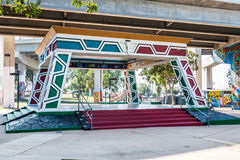 Chicano Park Pavilion/Kiosko Beneath the Coronado Bridge stock images