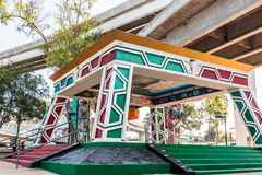 Chicano Park Pavilion/Kiosko Beneath Freeway On-Ramp royalty free stock photo