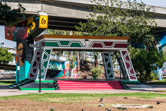Chicano Park Pavilion/Kiosko With Murals. SAN DIEGO, CALIFORNIA - SEPTEMBER 10, 2016:  A Kiosko/Pavilion under a freeway on-ramp at Chicano Park Stock Photos