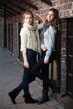 Chicas jóvenes contra una pared de ladrillo Fotos de archivo