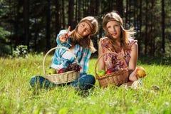 Chicas jóvenes felices con una cesta de fruta en la naturaleza Imagen de archivo libre de regalías