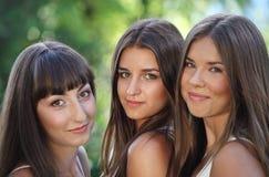 Chicas jóvenes hermosas en parque verde del verano Fotos de archivo libres de regalías
