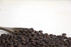 Chicchi di caffè arrostiti e un cucchiaio di legno su fondo bianco Immagini Stock Libere da Diritti