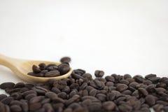 Chicchi di caffè arrostiti e un cucchiaio di legno su fondo bianco Fotografia Stock Libera da Diritti
