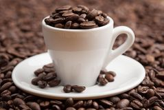 Chicchi di caffè arrostiti pieni della tazza ceramica Fotografie Stock
