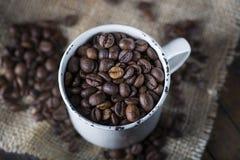 Chicchi di caffè arrostiti in una tazza della porcellana Fotografia Stock