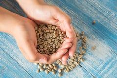Chicchi di caffè asciutti, caffè asciutto a disposizione Immagine Stock