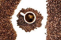 Chicchi di caffè con lo spazio della copia Immagini Stock Libere da Diritti