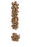 Chicchi di caffè, contrassegno di esclamazione Fotografie Stock Libere da Diritti