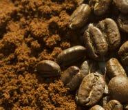 Chicchi di caffè contro caffè macinato Immagini Stock Libere da Diritti