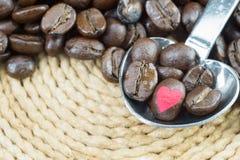 Chicchi di caffè in cucchiaio e nel fondo metallici con il percorso di ritaglio Immagini Stock