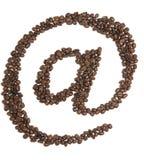 Chicchi di caffè del contrassegno del email di Internet Fotografie Stock Libere da Diritti