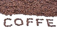 Chicchi di caffè dell'iscrizione Fotografie Stock
