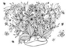 Chicchi di caffè dello zentangl dell'illustrazione di vettore con i fiori illustrazione vettoriale