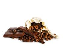 Chicchi di caffè e choclate Fotografia Stock