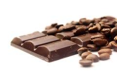 Chicchi di caffè e del cioccolato fotografia stock
