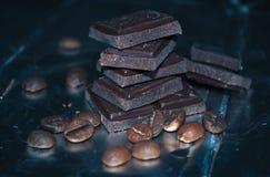 Chicchi di caffè e del cioccolato Fotografie Stock