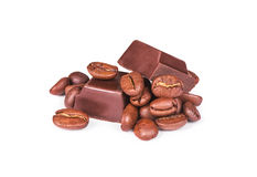 Chicchi di caffè e del cioccolato immagine stock libera da diritti