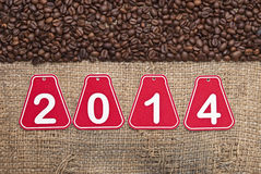 2014 chicchi di caffè e del testo Fotografia Stock