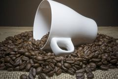 Chicchi di caffè e della tazza Fotografie Stock Libere da Diritti