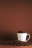 Chicchi di caffè e porto della tazza Fotografie Stock