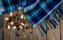 Chicchi di caffè e sciarpa di lana calda blu di autunno Fotografie Stock