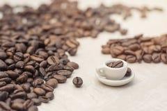 Chicchi di caffè e tazza del giocattolo con caffè, concetto Immagine Stock Libera da Diritti