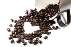 Chicchi di caffè a forma di del cuore Immagine Stock Libera da Diritti