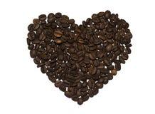 Chicchi di caffè a forma di del cuore Fotografie Stock
