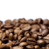 Chicchi di caffè isolati su bianco immagini stock