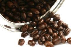 Chicchi di caffè in latta dell'acciaio Immagine Stock Libera da Diritti