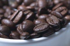 Chicchi di caffè a macroistruzione in tazza Fotografie Stock Libere da Diritti