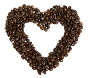 Chicchi di caffè nella figura del cuore Fotografia Stock Libera da Diritti