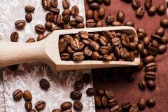 Chicchi di caffè Scopi arrostiti dei chicchi di caffè Imballando per il caffè Fotografie Stock Libere da Diritti