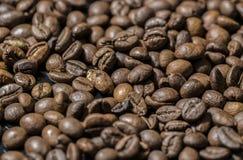 Chicchi di caffè sul nero Fotografia Stock Libera da Diritti