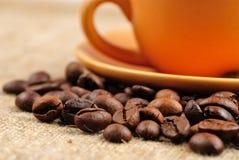 Chicchi di caffè sull'insaccamento immagini stock