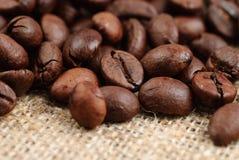 Chicchi di caffè sull'insaccamento fotografia stock