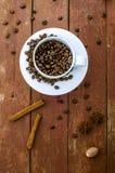 Chicchi di caffè in tazza, bastoni di cannella e stelle di anice Fotografie Stock Libere da Diritti